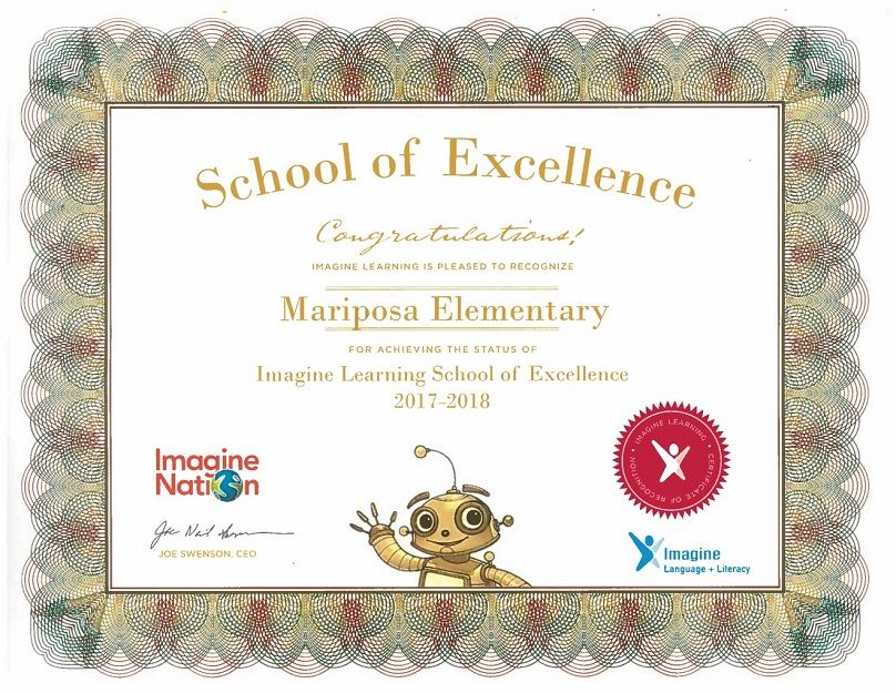 Imagine Learning School of Excellence 2017-2018