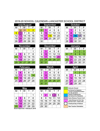Lancaster School District 2019-20 School Calendar