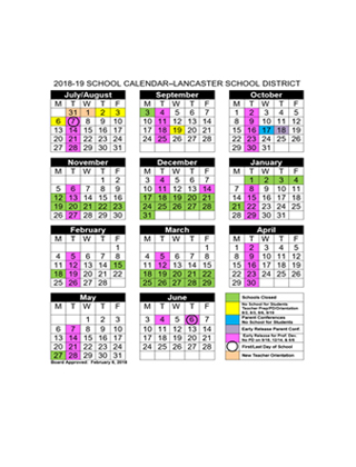 Lancaster School District 2018-19 School Calendar