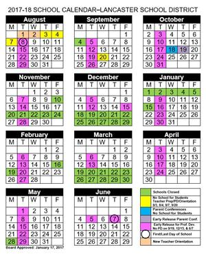 2017 2018 Student Calender