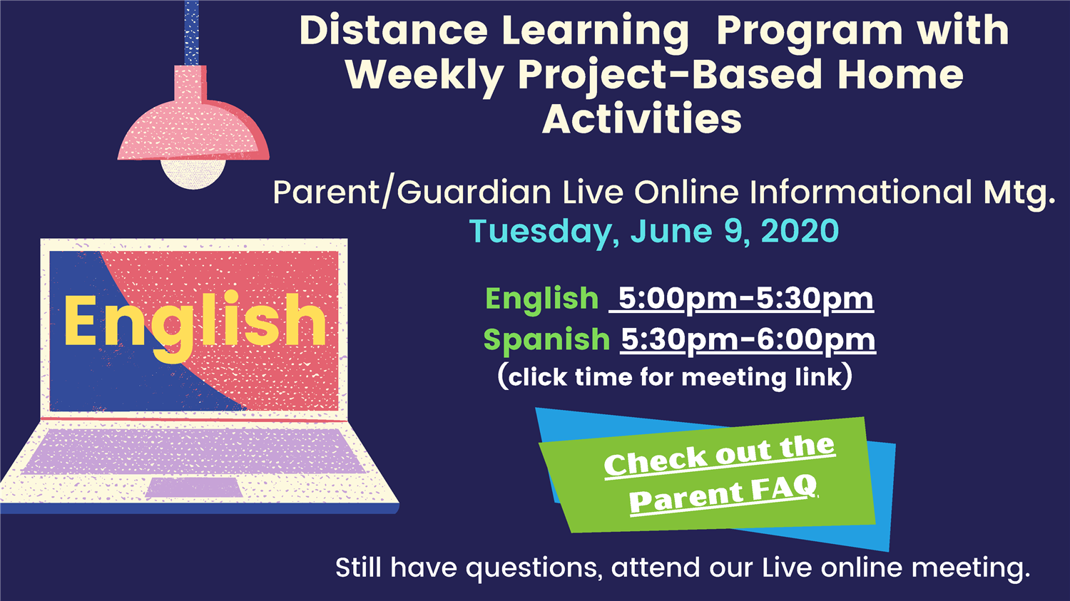 Parent Live Online Meeting for Distance Learning Program