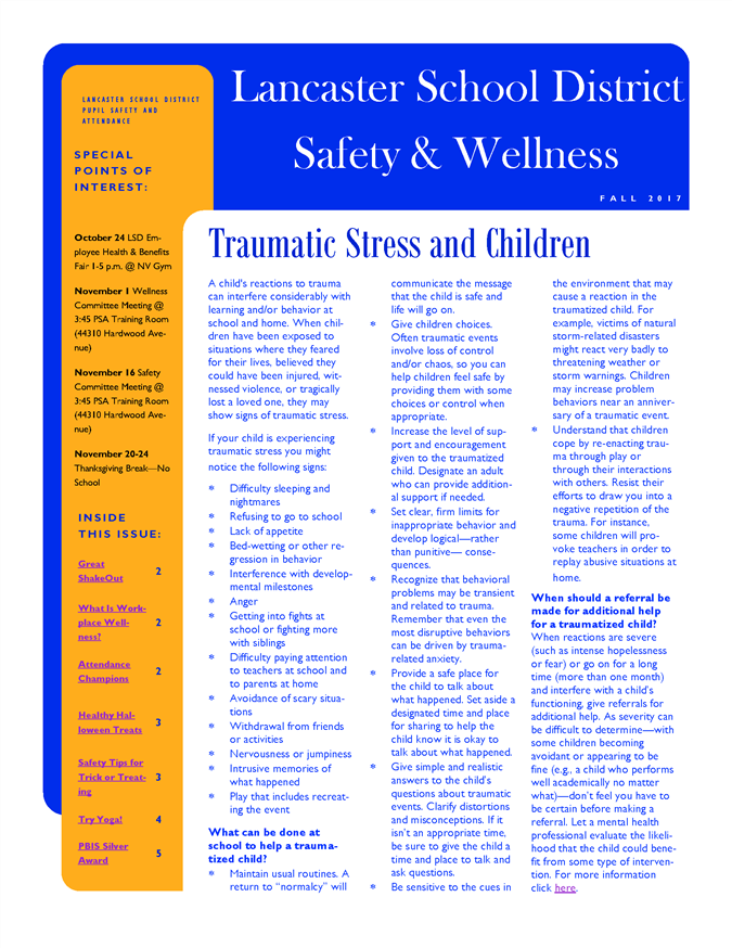 Fall 2017 Safety and Wellness Newsletter