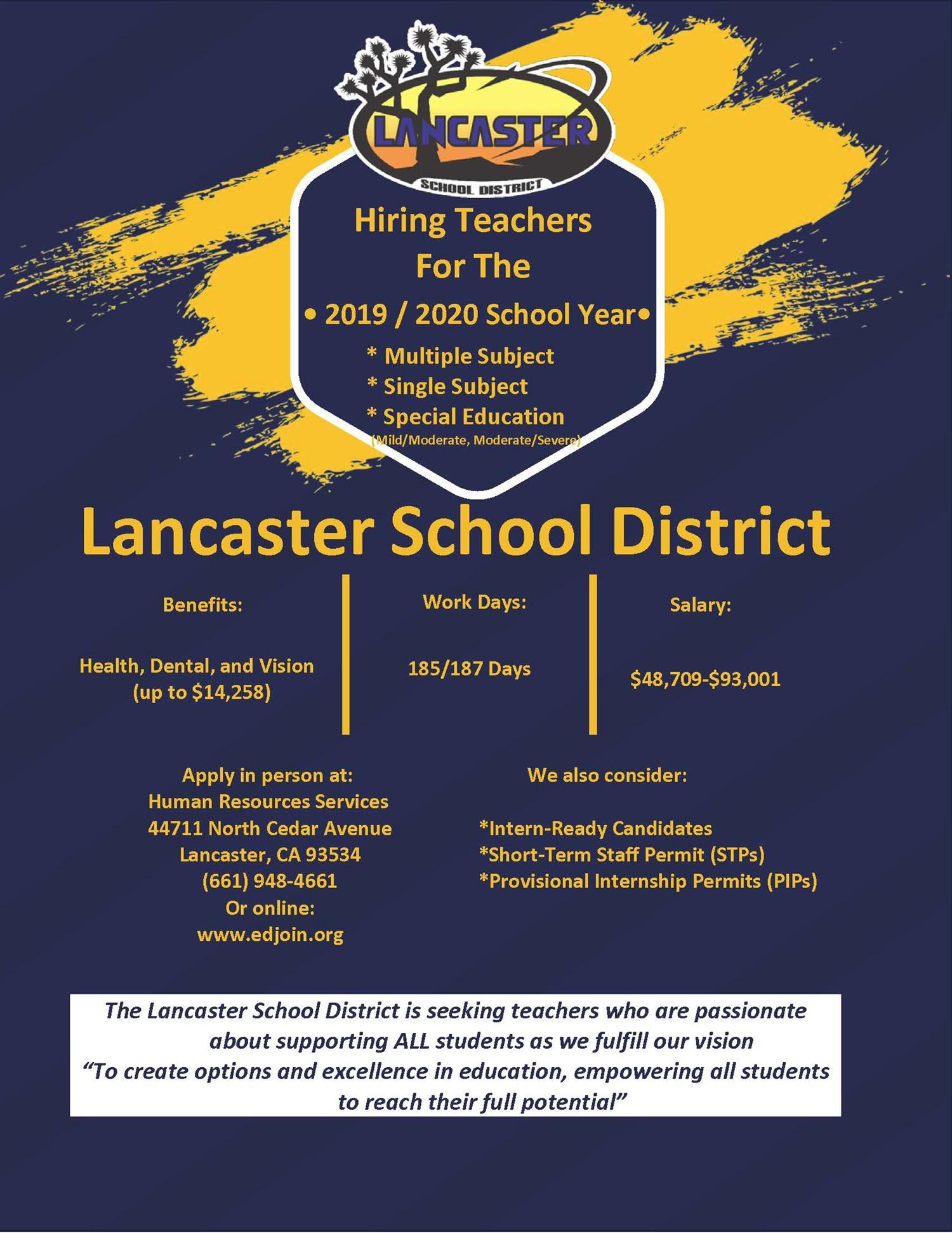 Hiring Teachers for the 2019-2020 School Year