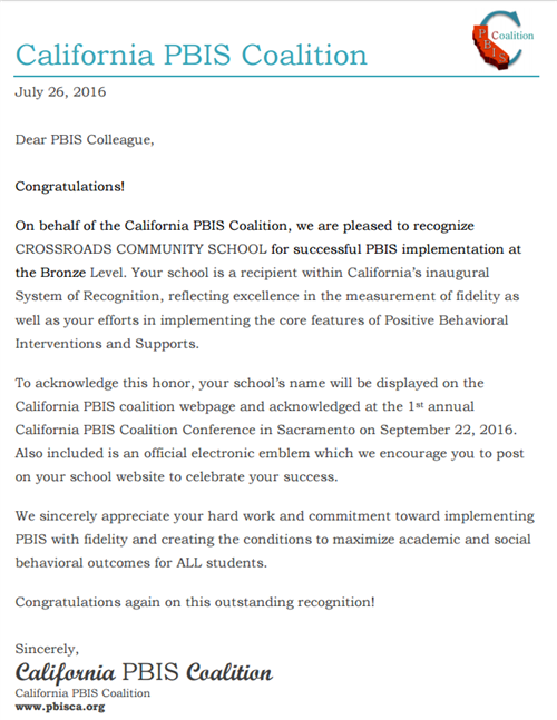 Letter from PBIS Coalition
